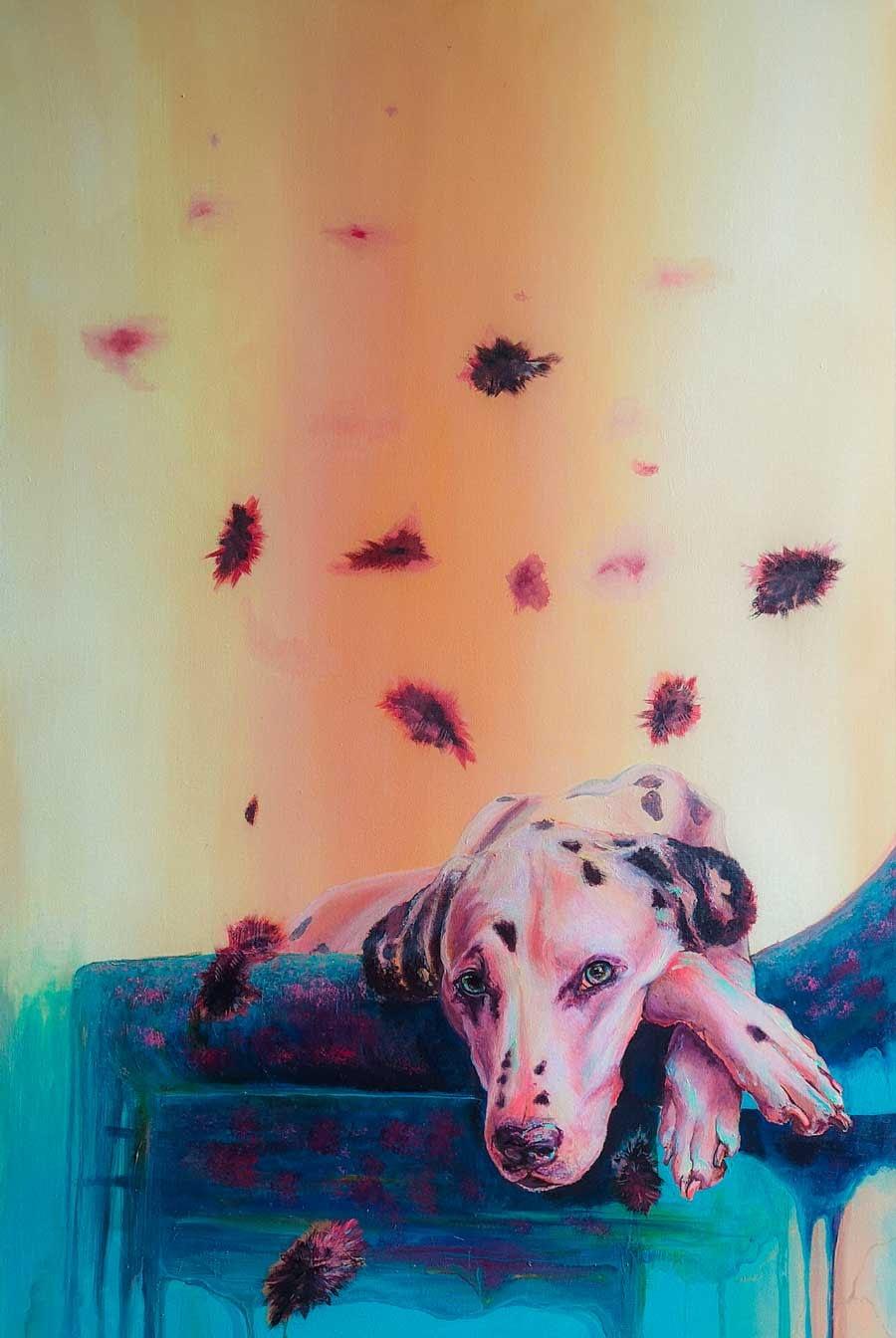 Hommage á Istvan - Acrylgemälde Ute Bescht 2021 - 80x110 , Hund, Couch, Pink, Ute Bescht - old friends book ends Acrylwerk auf Holz- Bremen Kunst