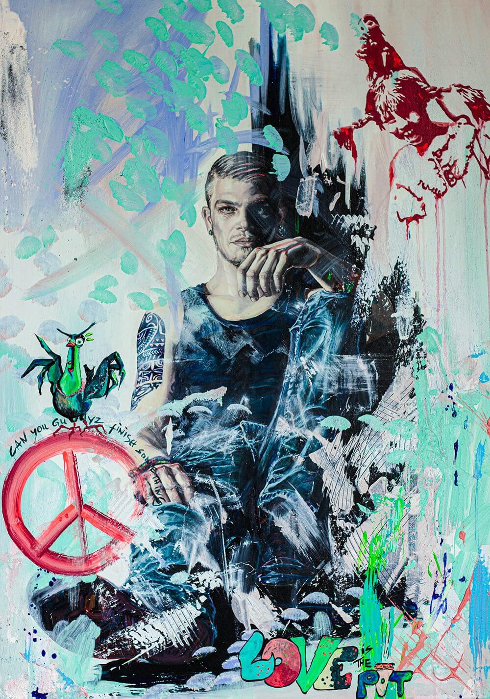 Ute Bescht Kunstwerke: LOVE-POT-PEACE-Pippi Longstocking-Banksy- Original in Show