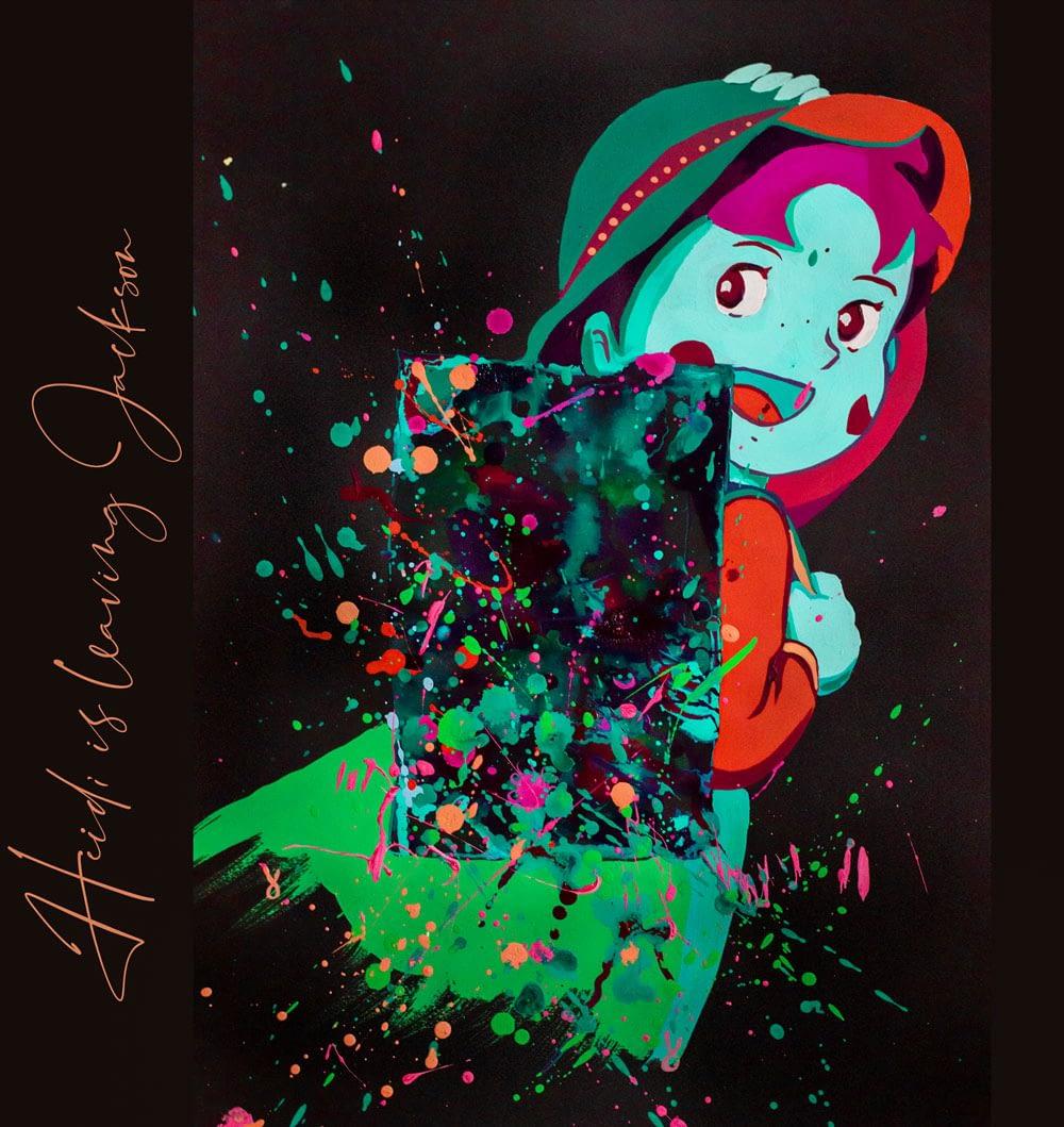 Heidi is leaving Jackson - Pop Art Ute Bescht - Toon Series with Jackson Pollock