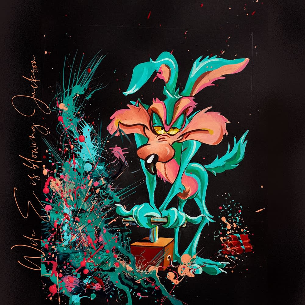 Wile E. Coyote is blowing Jackson - Pop Art Ute Bescht - Toon Series with Jackson Pollock