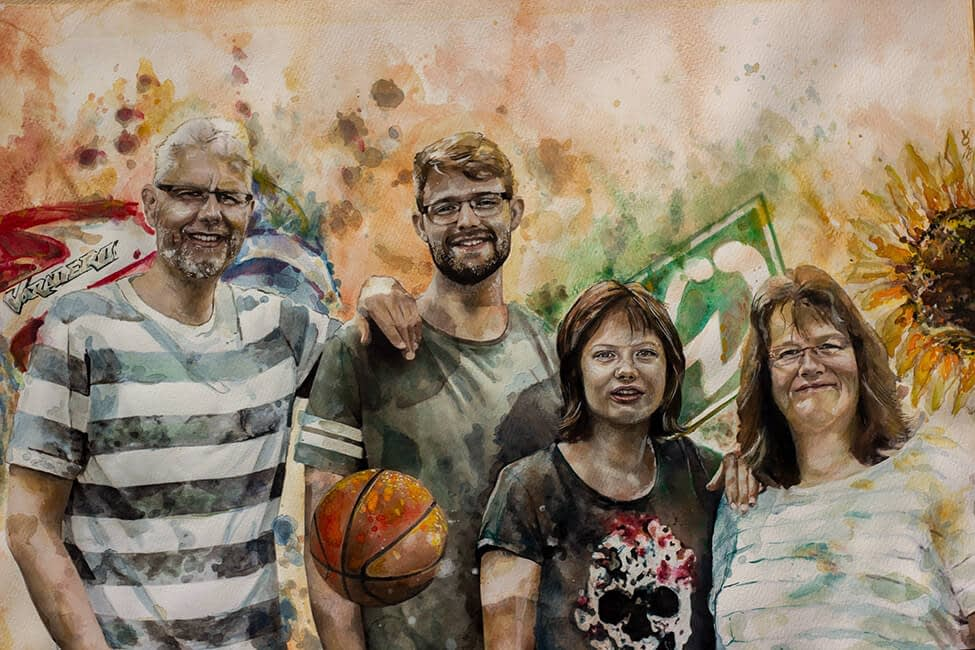 Bescht Portrait : Family Bounds - Aquarell A2