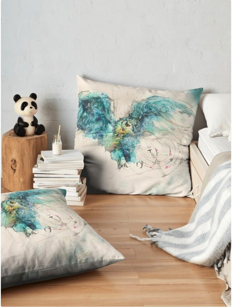 Ute Bescht design owl pillow floor