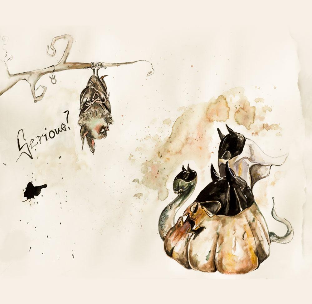 Grumpy Bat Halloween Series Ute Bescht