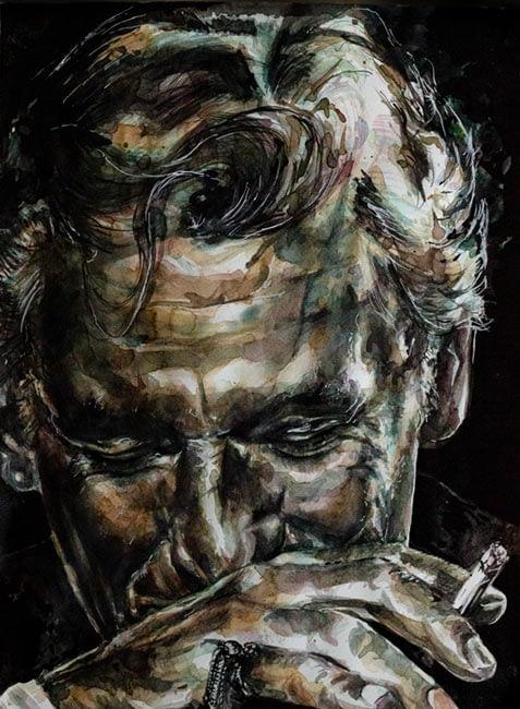 Bescht Portrait: Lenny Bernstein - Tusche-Kaffee-Sepia