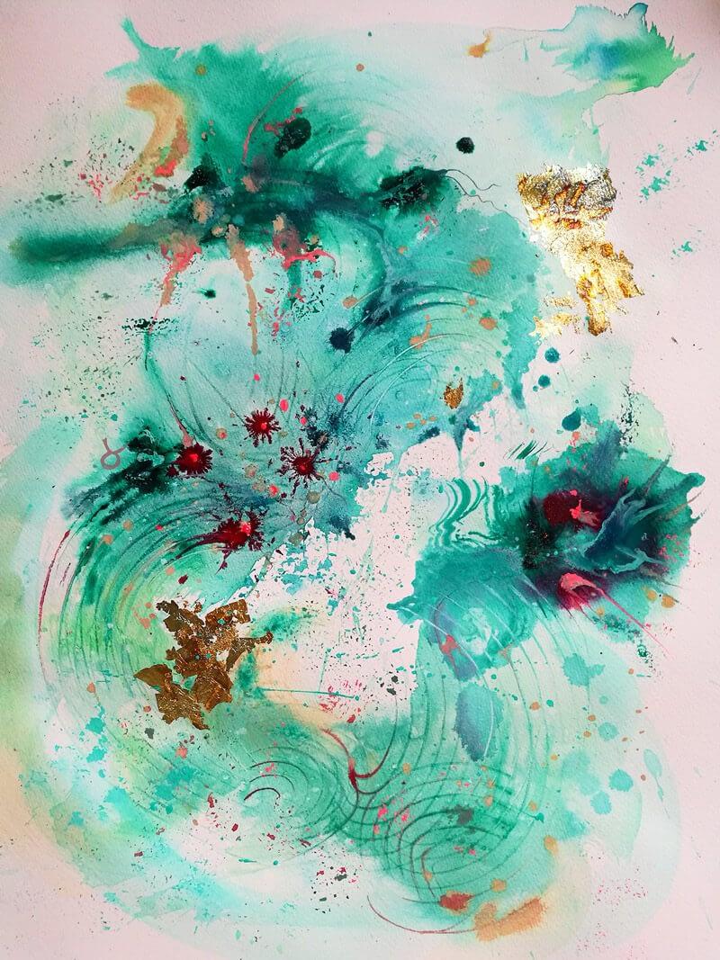 abstract art- dragonflight-aquarell-ute-bescht