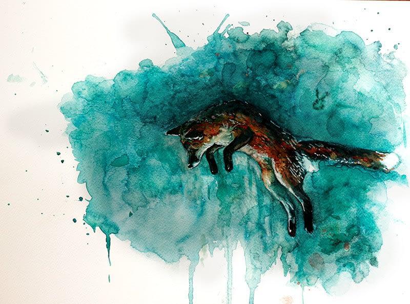 Portrait Aquarelle Konzeptkunst: Jump for joy
