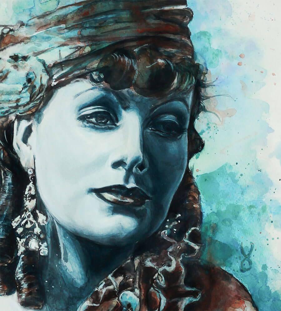 Portrait Aquarelle Konzeptkunst: Greta Garbo