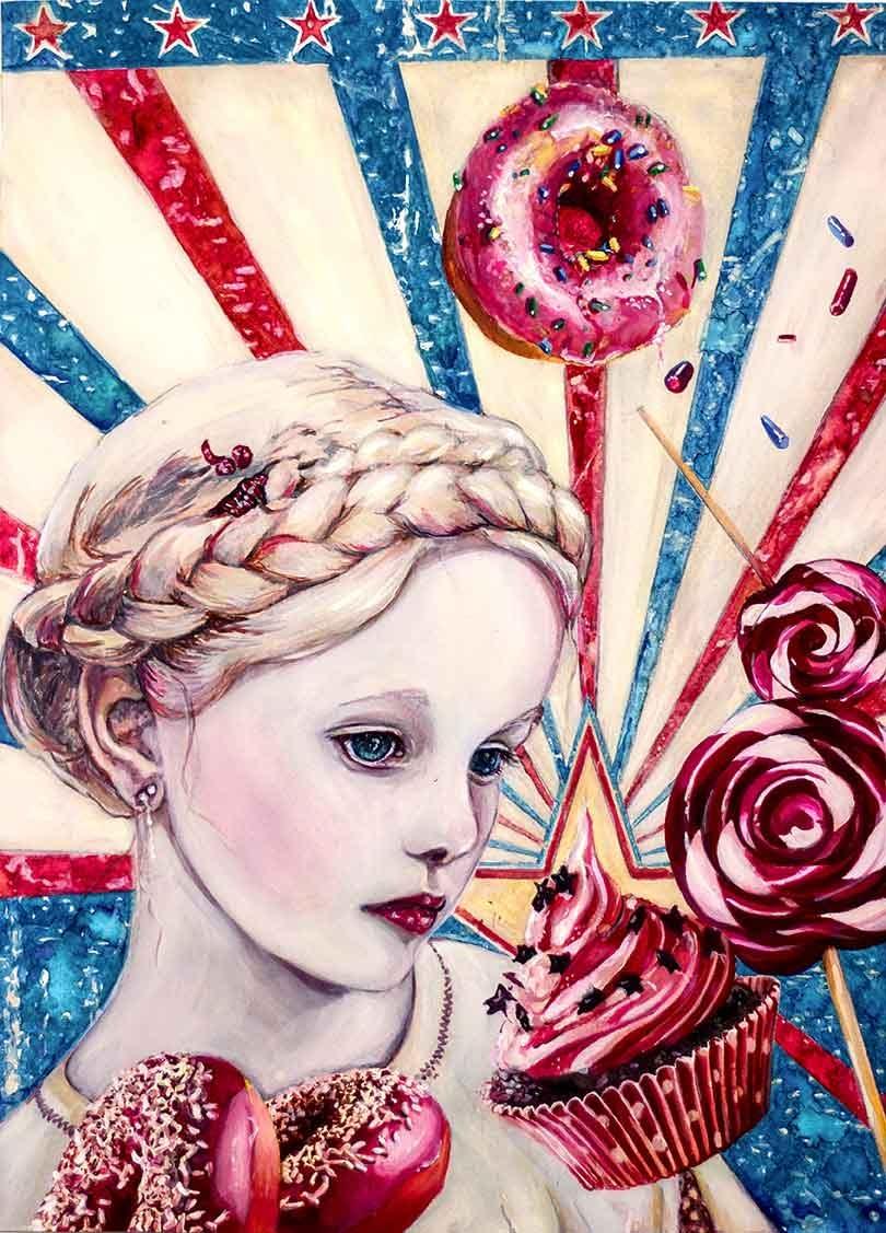 Portrait Aquarelle Konzeptkunst: Sugar me stupid