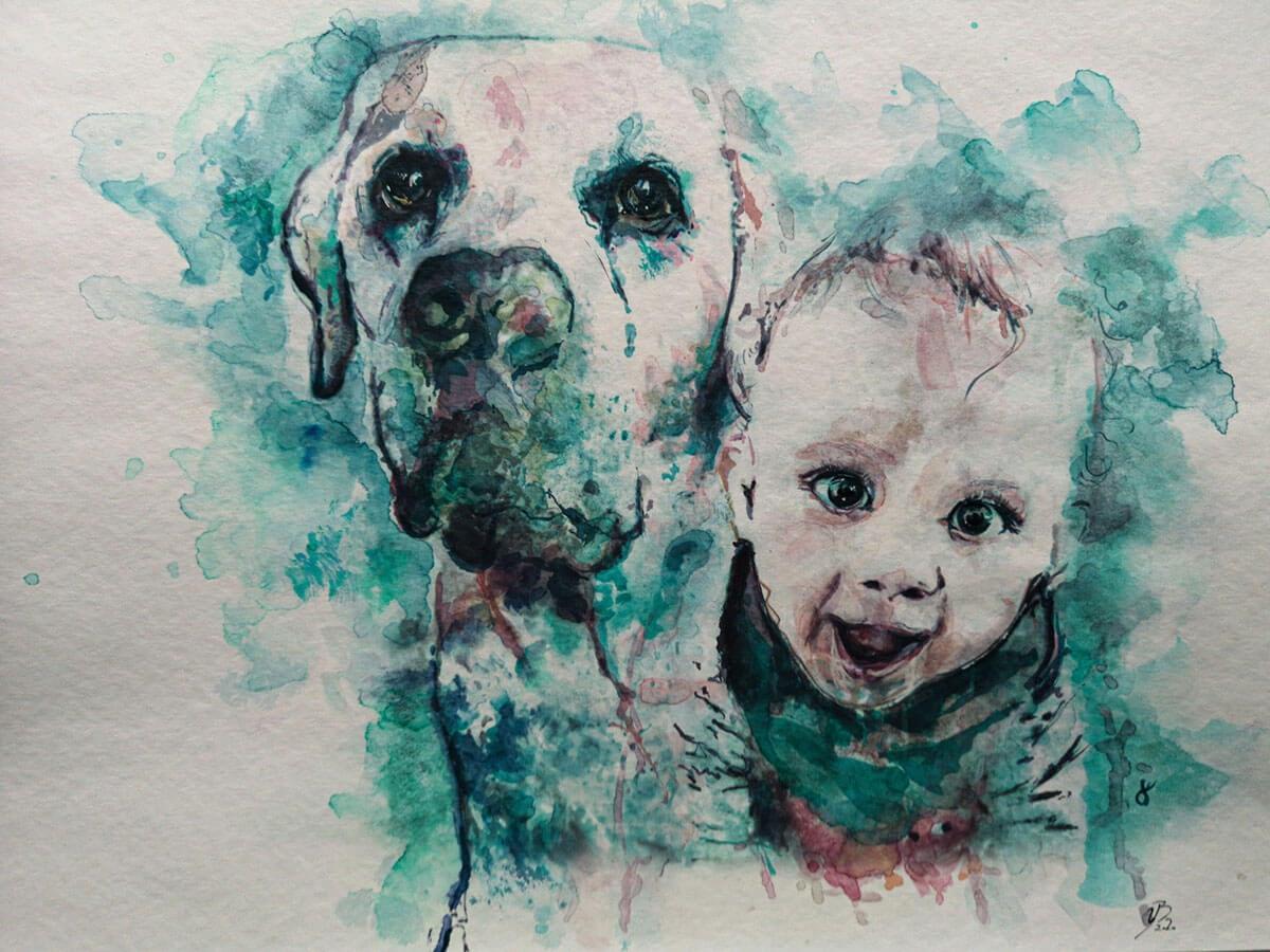 Bescht Portrait: Kind und Hund- Erinnerungswerk
