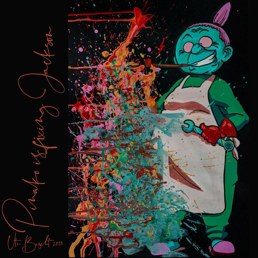 Pinako Rockbell is fixing Jackson - Pop Art Ute Bescht - Toon Series with Jackson Pollock