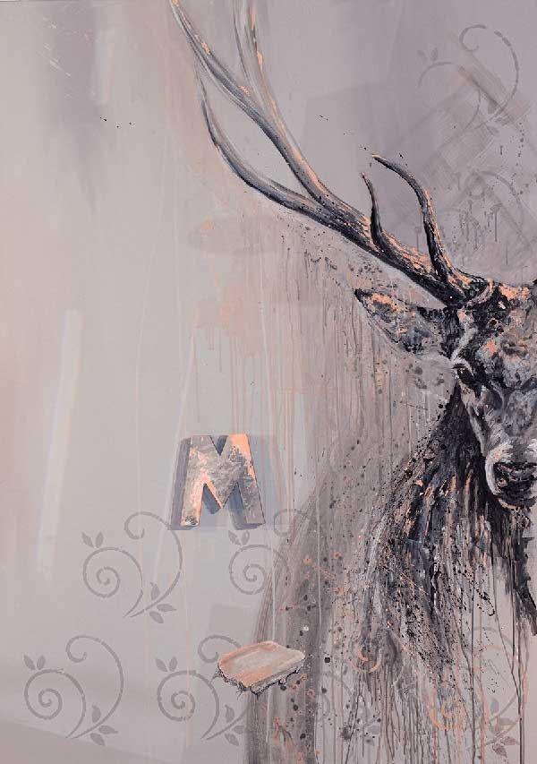 Ute Bescht Ute Bescht - old friends book ends Acrylwerk auf Holz- Bremen Kunst- Abstrakte Kunst Raumansicht - Galerie Hängung