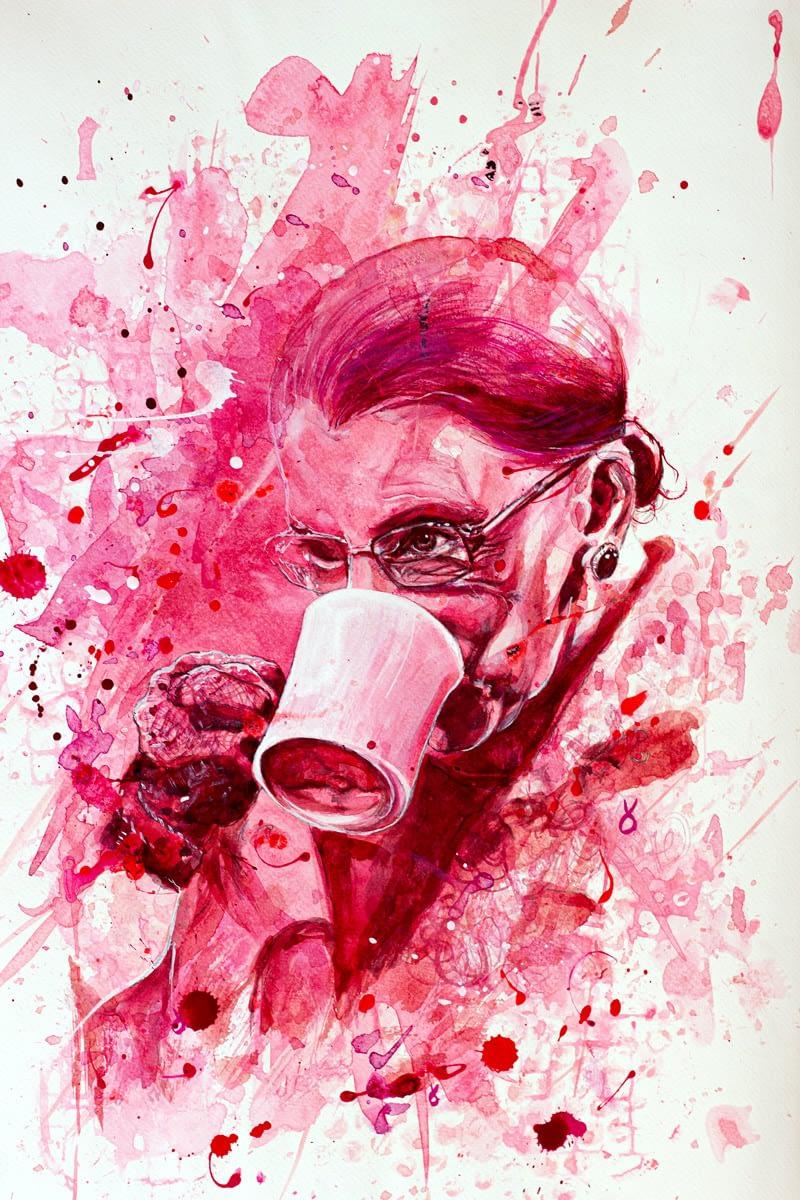 Bescht Portrait: Ruth Bader Ginsburg - monochrom pink Tusche