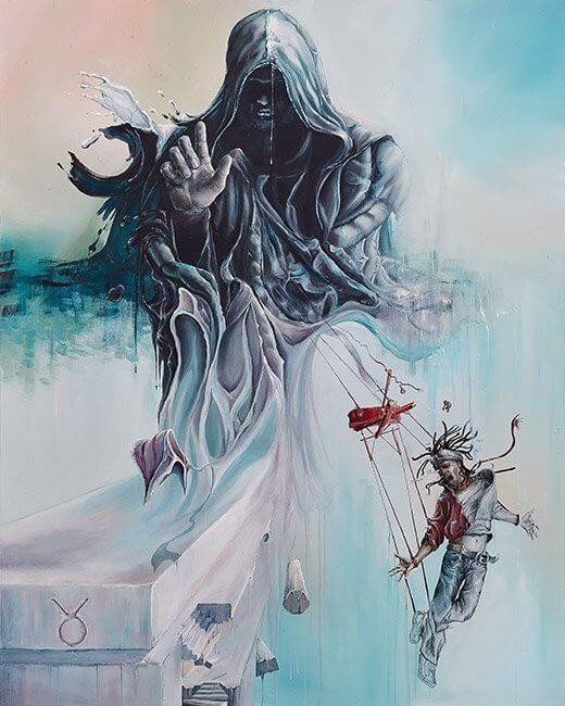 Ute Bescht - Acryl und Öl Kunstwerke Konzept Arbeiten großformatig in Realismus und Surrealismus - The Priest of academic burden