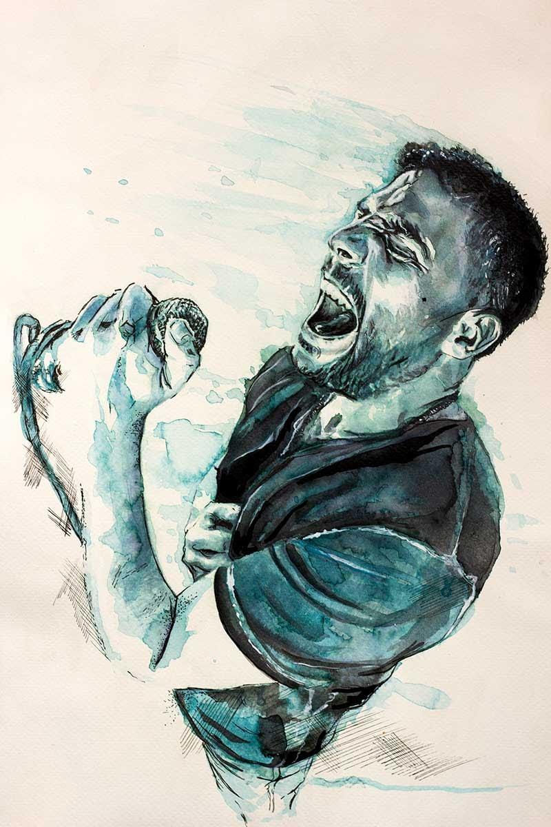Portrait Aquarelle Konzeptkunst: Benjamin Rivera