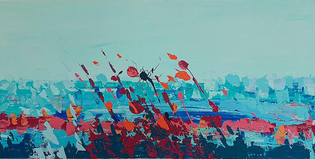 Ute Bescht Kunstwerke - Abstract Series: Poppyfield
