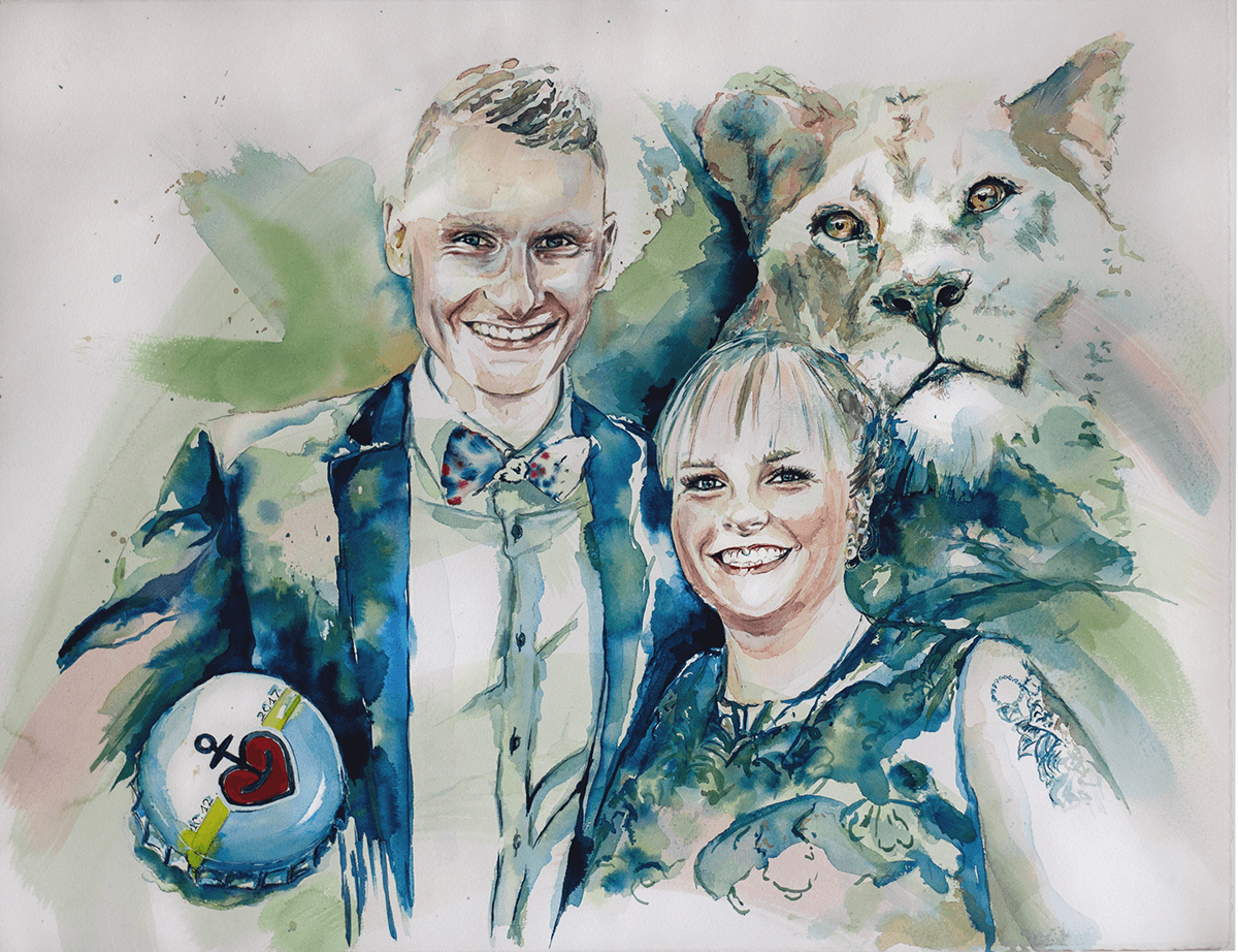 Bescht Portrait: Konzeptaquarell Päärchen & weiße Löwin